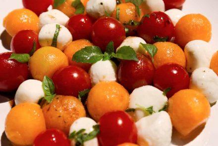Salade Tomates cerises, Melon et mozzarella